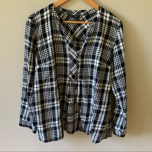 Talbots Black / White Checkered Blouse